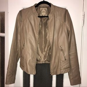 Tan Leather Jacket with Zipper Detail